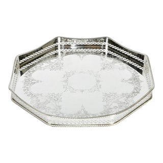 English Sheffield Silver Plate Hexagon Tray For Sale