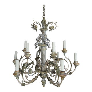 Twelve-Light Italian Wood and Iron Cherub Trio Chandelier, Pair For Sale