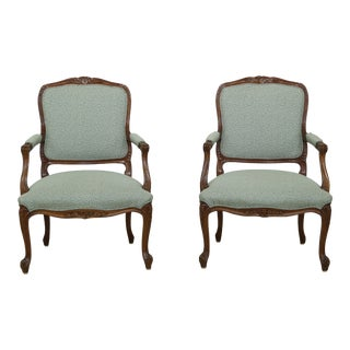 Pair Hickory Chair Co French Louis XV Style Armchairs For Sale