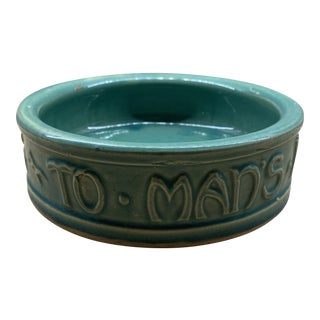 "McCoy Pottery ""To Man's Best Friend His Dog"" Green Dog Bowl For Sale"