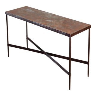 Vintage Patinated Metal Console Table For Sale