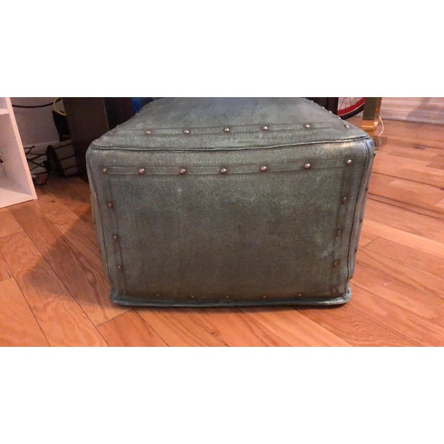 Various Artists New World Trading Company Lo12 Distressed Turquoise Leather Ottoman/Pouf For Sale - Image 4 of 6