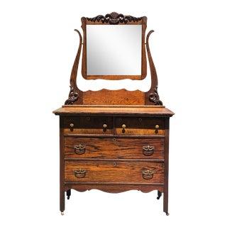 Antique Victorian Farmhouse Carved Oak Mirrored Dresser For Sale