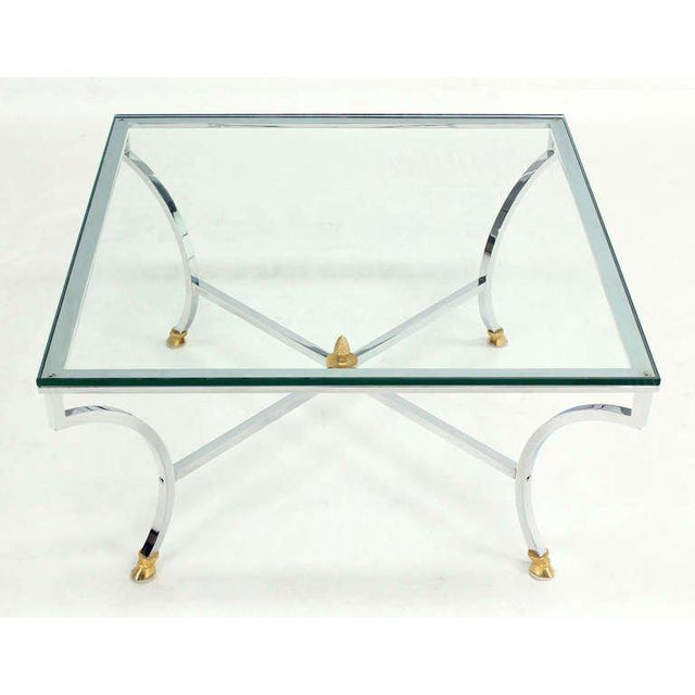 "Mid 20th Century Hoof Brass Feet Chrome and 3/4"" Glass Square Coffee Table For Sale - Image 5 of 10"