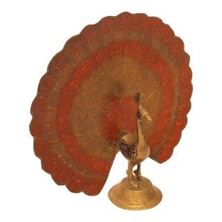 Mid-Century Brass Peacock Figurine For Sale