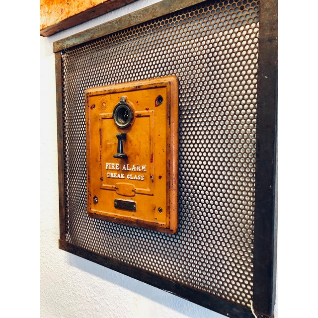 Vintage Industrial Art Metal Wall Panel With Fire Department Alert Alarm Call Box For Sale - Image 4 of 6