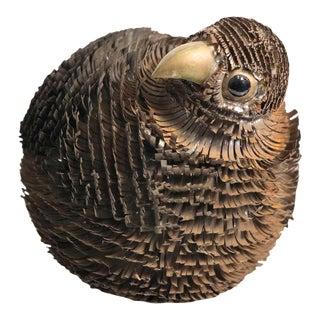 1960s Brutalist Brass Enamel Bird Figurine For Sale