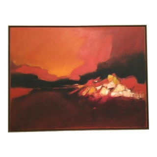 Vintage Mid-Century Richard Billmeier Abstract Oil on Canvas Landscape Painting For Sale