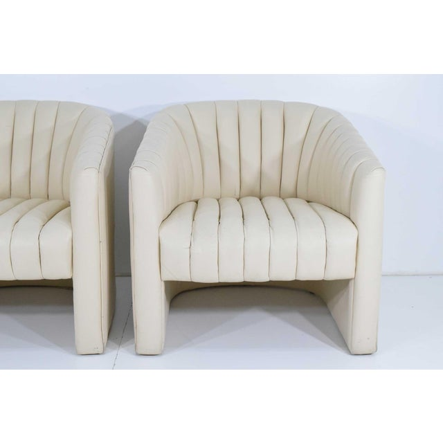 1980s Channel Tufted Barrel Back Tub Chairs - a Pair For Sale - Image 4 of 8