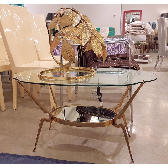 Cesare Lacca 1950s Italy Mid-Century Modern Brass / Glass Coffee Table by Cesare Lacca For Sale - Image 4 of 6