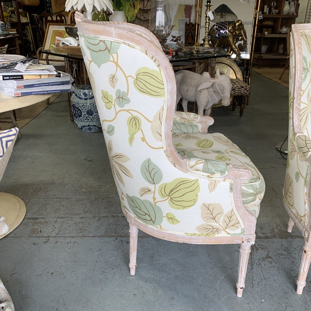 Upholstered Bergere Chairs - a Pair For Sale In West Palm - Image 6 of 10