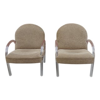 Charles Hollis Jones for Pace Collection Lucite Armchairs - a Pair