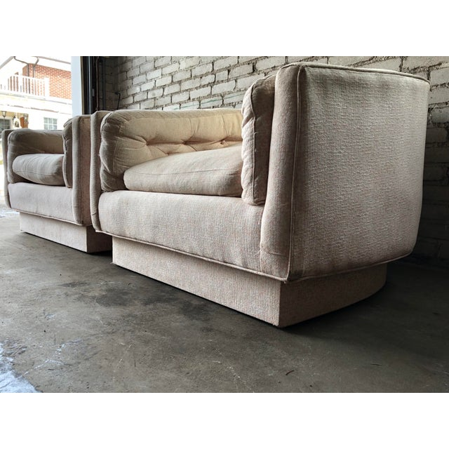 Vintage Mid-Century Milo Baughman Style Tufted Barrel Chairs - A Pair For Sale In Boston - Image 6 of 10