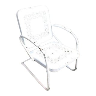 1940s Vintage White Metal Patio Chair For Sale