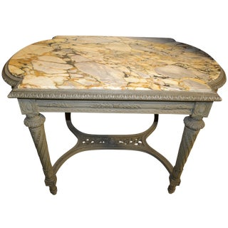 19th Century French Louis XVI Center Table or Console With Veined Marble Top For Sale