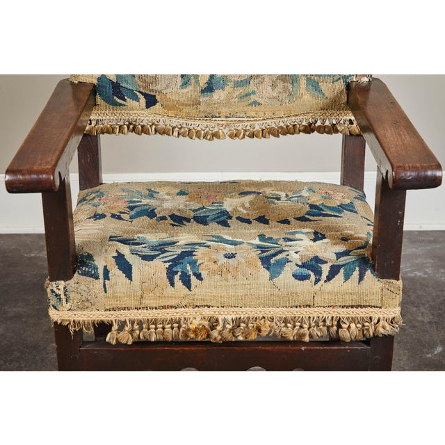 19th C. Spanish Walnut Chair With Embroidered Upholstery For Sale In Los Angeles - Image 6 of 9