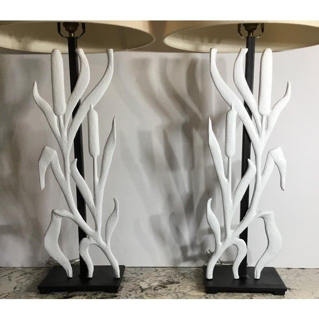 Elagent pair of table lamps made of cast iron cat Tail motif hand painted in flat white ,professionally mounted on a...