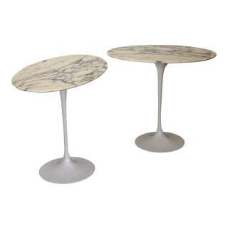 1950s Mid-Century Modern Saarinen Marble Side Tables - a Pair For Sale