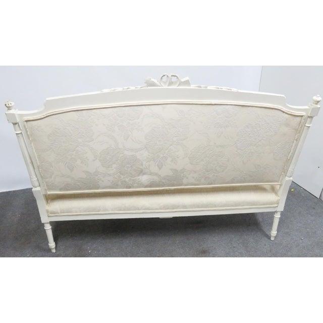 Louis XVI Style White Carved Sofa For Sale In Philadelphia - Image 6 of 8