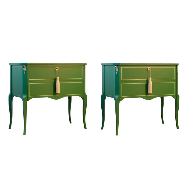 Gustavian Hauptbyrå with marble slab and redesigned with a custom green and gold lacquered finish. Fine original fittings...