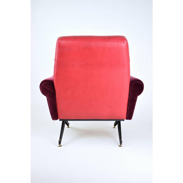 Metal Pair of Italian Vintage Mid-Century Velvet Steel Armchairs, 1950's For Sale - Image 7 of 13