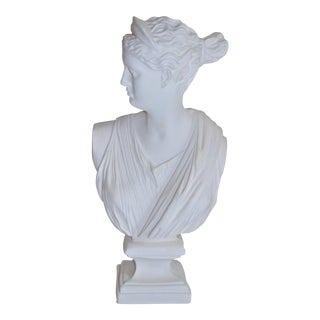 """Vintage Large Scale Roman Bust Sculpture of """"Diana the Huntress"""" For Sale"""