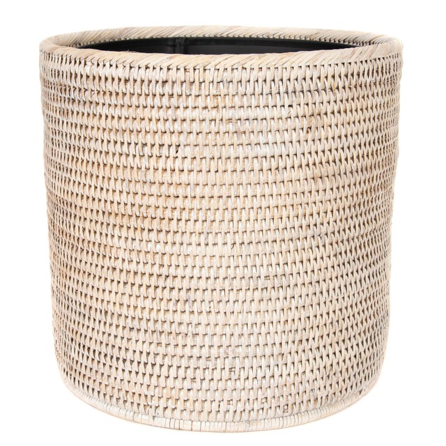 Boho Chic Artifacts Rattan Round Waste Basket With Metal Liner For Sale - Image 3 of 4
