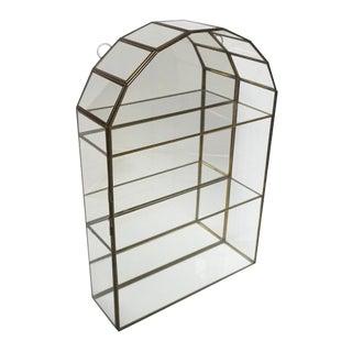 "Vintage 14"" Brass & Glass Mirror Curio Tiered Display Box"