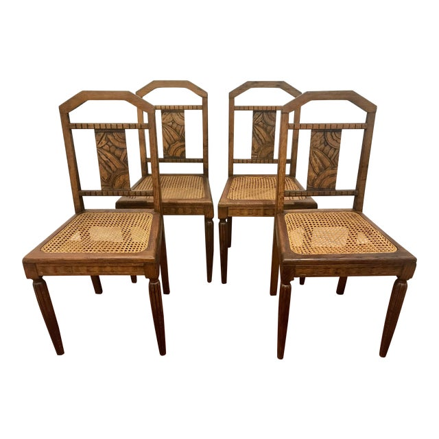 French Oak and Cane Art Deco Dining Chairs For Sale