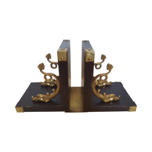 Brass Dolphin Bookends - A Pair - Image 1 of 4