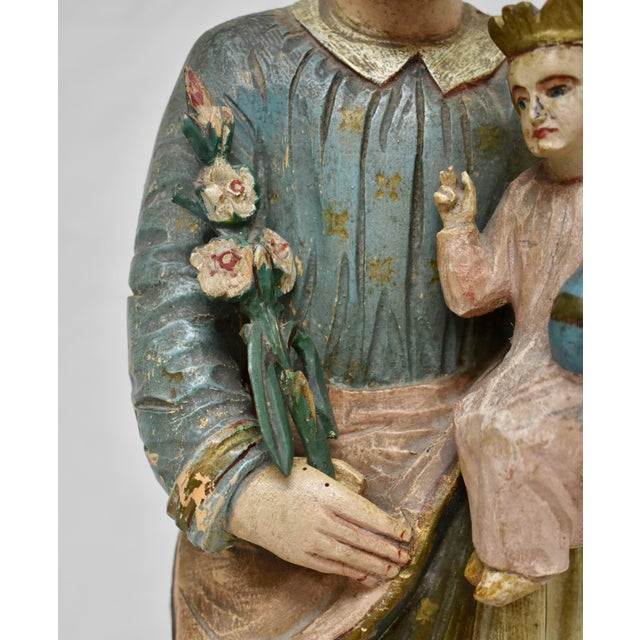 Hand-Carved Wooden Sculpture of Saint Joseph and the Christ Child For Sale - Image 4 of 13