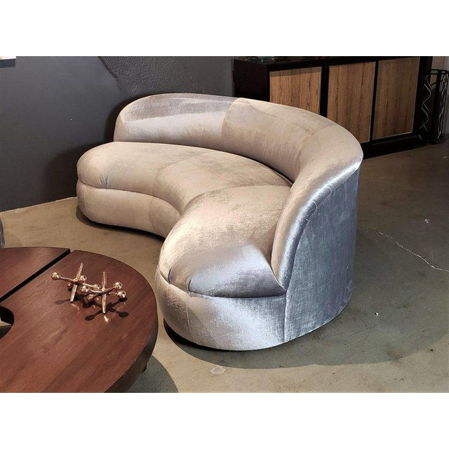 Metal Directional Kagan Style Restored Velvet Biomorphic Curved Sofas For Sale - Image 7 of 11