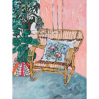 """Rattan Chair With Floral Protea Cushion"" Painting in Painterly Pink Room For Sale"