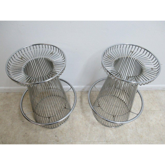 Vintage Chrome Wire Cone Bar Stools - A Pair - Image 10 of 11