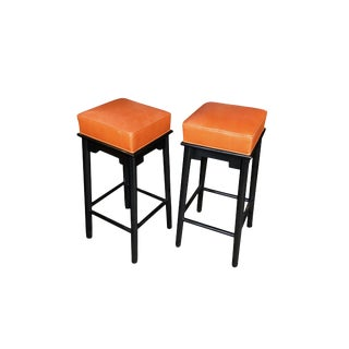 1950s Leather & Lacquered Bar Stools in the Style of James Mont - a Pair For Sale