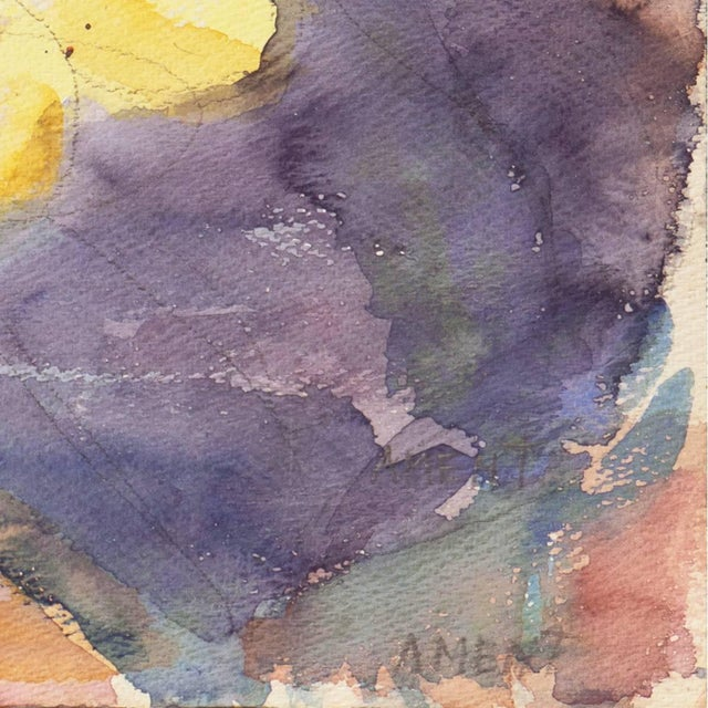 A lyrical watercolor of flowers informally arranged in two vases and contrasted against a lilac and purple background....