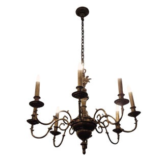 Antique Eight Arm Bronze Chandelier For Sale