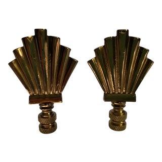 Bronze Art Deco Shell Finials - Pair For Sale