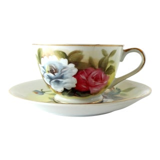 Mid 20th Century Vintage Hand-Painted Kashmir Rose Bone China Tea Cup and Saucer by Shafford For Sale