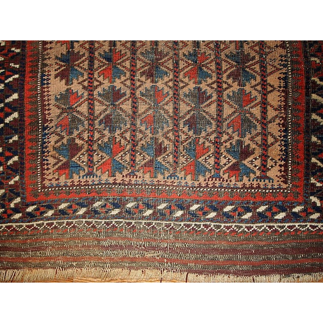"Antique Turkoman Prayer Baluch Rug - 2'10"" X 5'3"" For Sale In New York - Image 6 of 7"