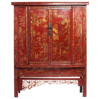 Large 19th Century Red Lacquer and Gold Chinoiserie Armoire from China For Sale