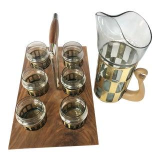 Mid-Century Cocktail Glass Pitcher Set - 8 Pieces For Sale