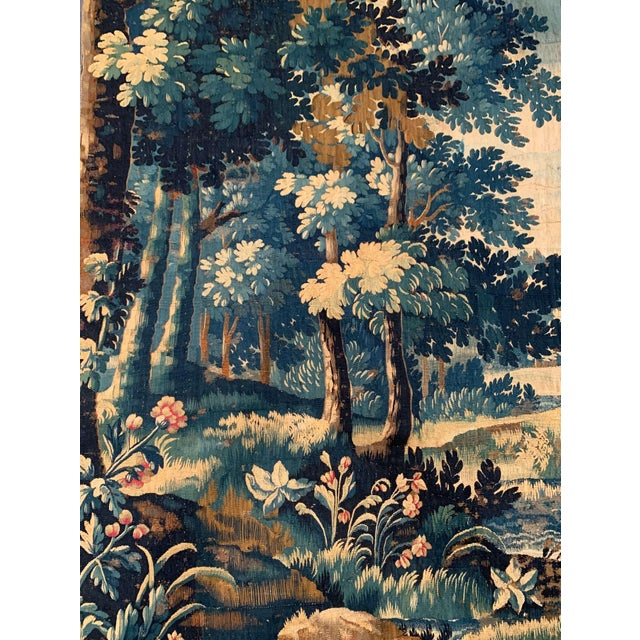 Mid-18th Century French Verdure Aubusson Tapestry With Trees and Foliage For Sale In Dallas - Image 6 of 13