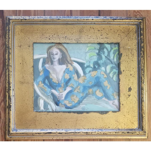 Abstract Expressionism Beth Downey Lounging Lady For Sale - Image 3 of 3
