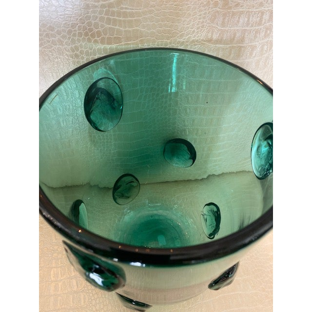 1950s Mid-Century Murano Green Glass Vase For Sale - Image 5 of 13