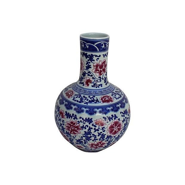 Chinese Blue, White, & Pink Floral Vase - Image 3 of 5