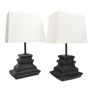 James Mont Style Mid-Century Black Ceramic Lamps - A Pair