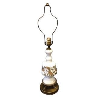 Vintage Painted Milk Glass Japanese Coy Lamp