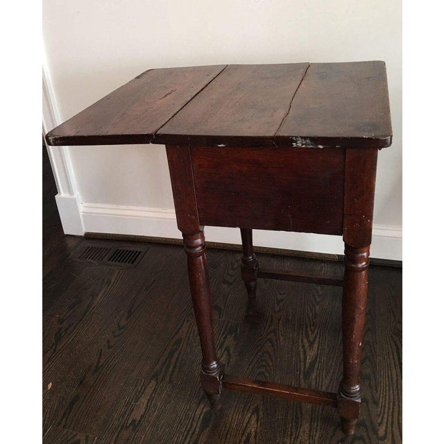 20th Century Rustic Drop Leaf Work Table For Sale - Image 4 of 10