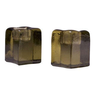 Pair of Vintage Olive Green 'Ice Cube' Blown Glass Candle Holders by Blenko For Sale